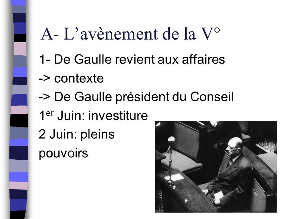 A- L'avènement de la V° 1- De Gaulle revient aux affaires