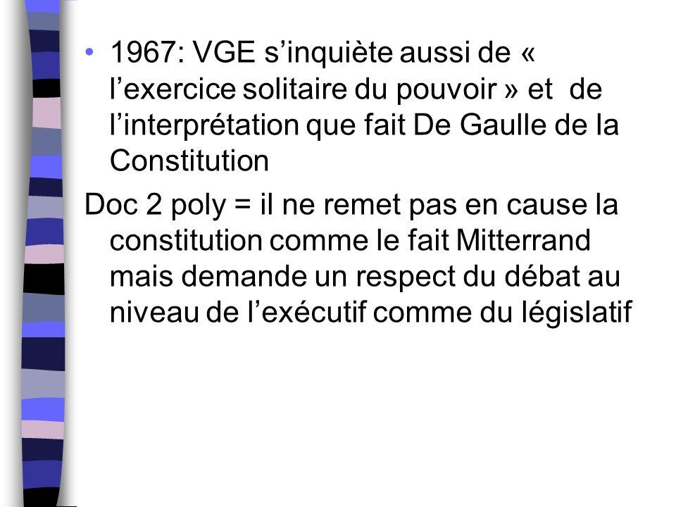 1967: VGE s'inquiète aussi de « l'exercice solitaire du pouvoir » et de l'interprétation que fait De Gaulle de la Constitution