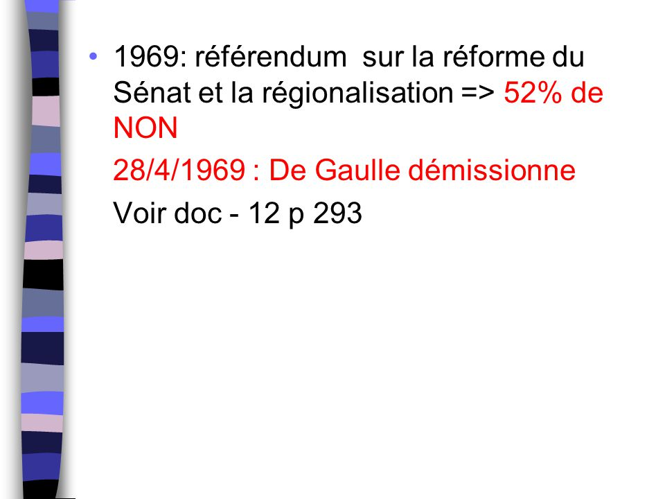 1969: référendum sur la réforme du Sénat et la régionalisation => 52% de NON