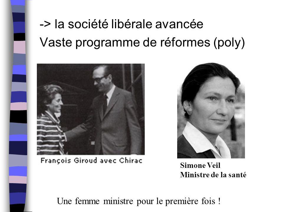 -> la société libérale avancée Vaste programme de réformes (poly)