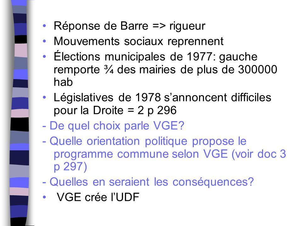 Réponse de Barre => rigueur