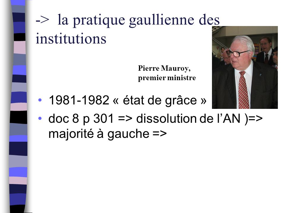 -> la pratique gaullienne des institutions