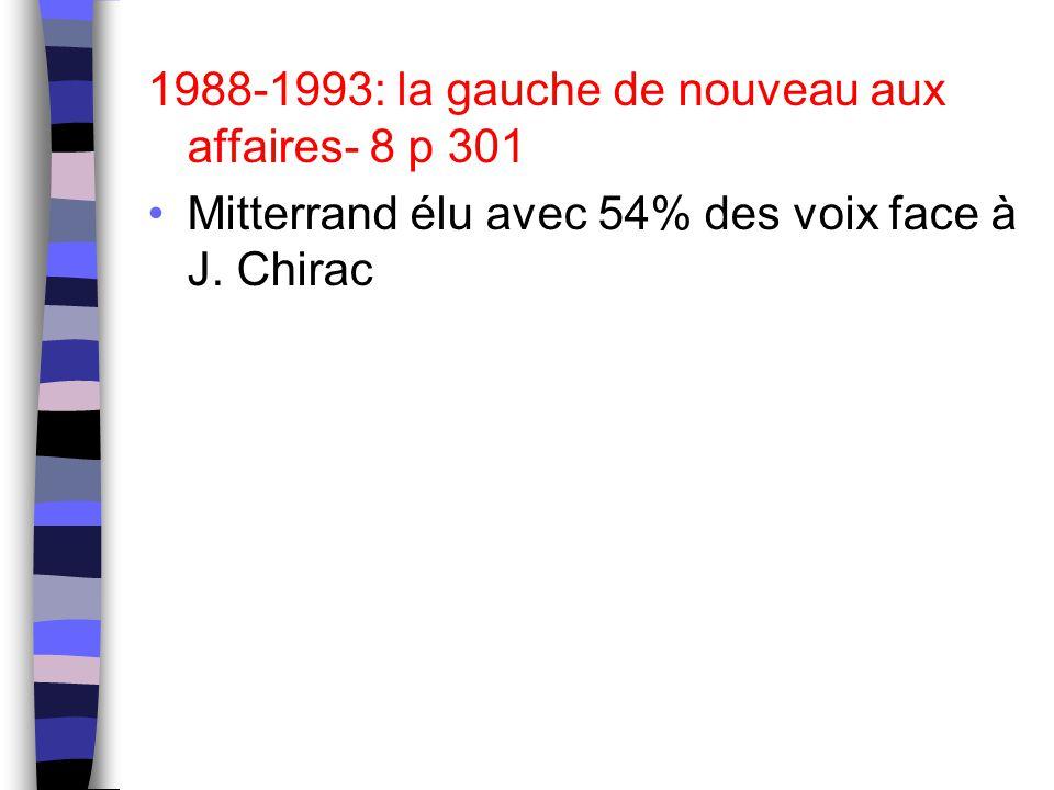 1988-1993: la gauche de nouveau aux affaires- 8 p 301