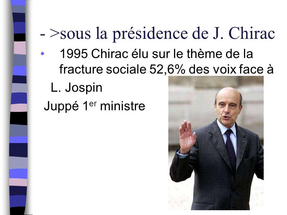 - >sous la présidence de J. Chirac