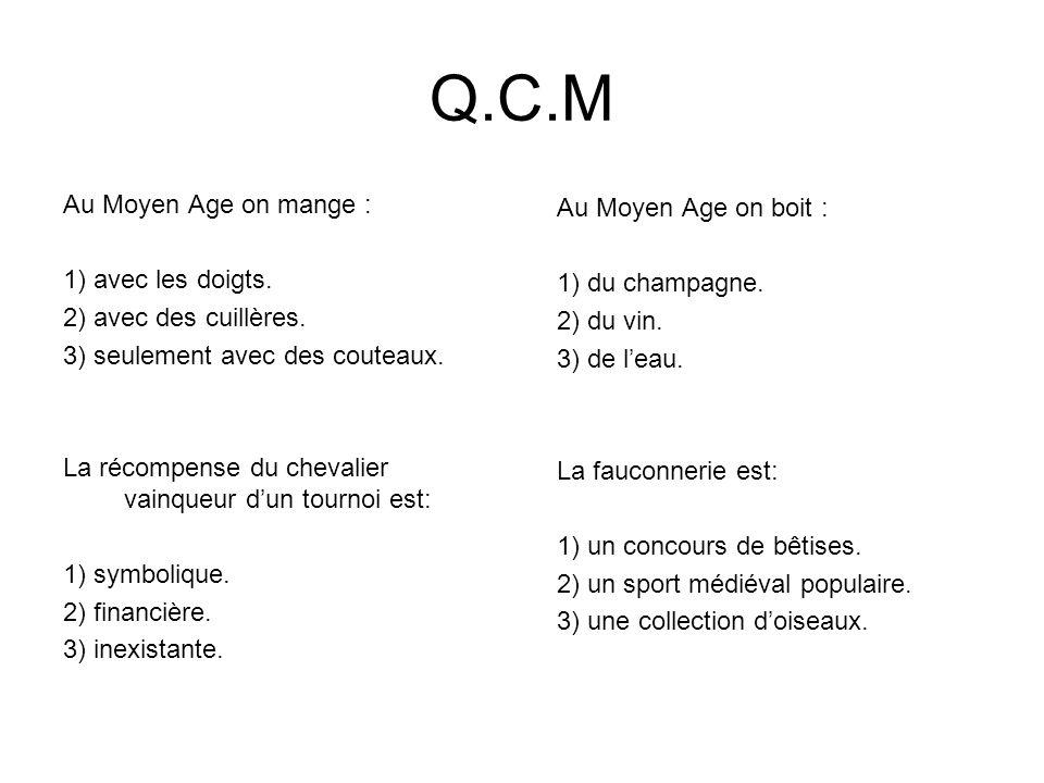 Q.C.M Au Moyen Age on mange : Au Moyen Age on boit :