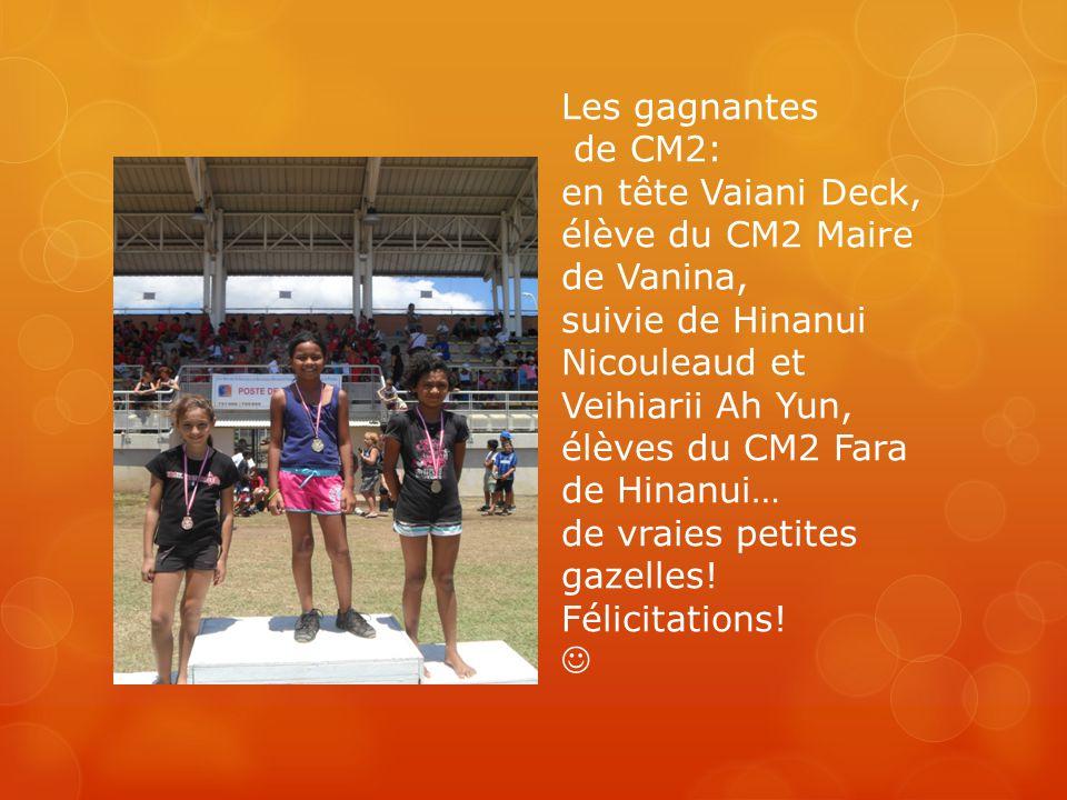 Les gagnantes de CM2: en tête Vaiani Deck, élève du CM2 Maire de Vanina, suivie de Hinanui Nicouleaud et Veihiarii Ah Yun, élèves du CM2 Fara de Hinanui… de vraies petites gazelles.
