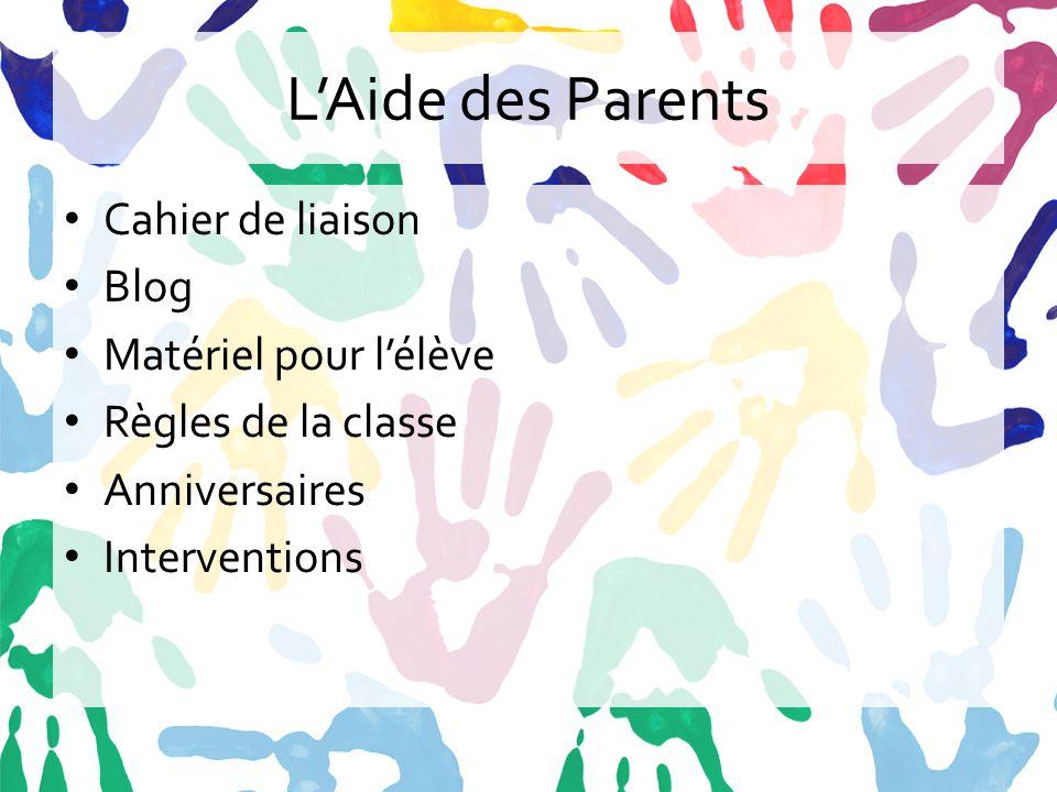 L'Aide des Parents Cahier de liaison Blog Matériel pour l'élève