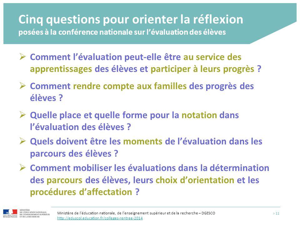 Cinq questions pour orienter la réflexion posées à la conférence nationale sur l'évaluation des élèves