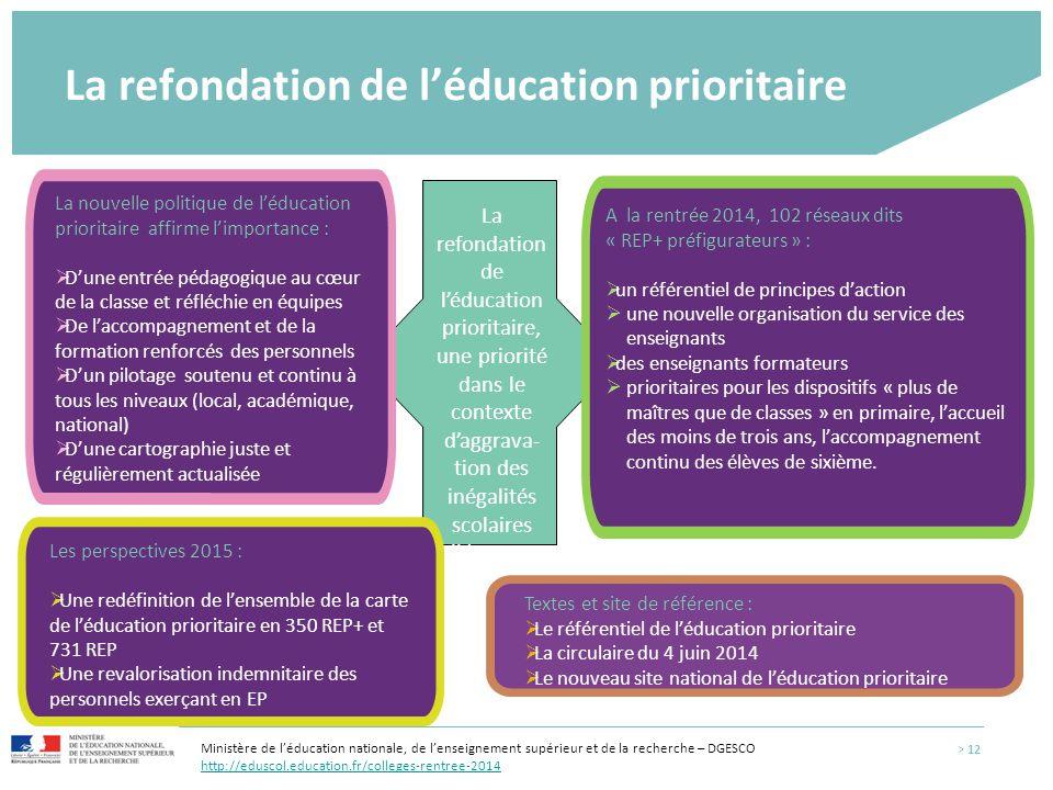 La refondation de l'éducation prioritaire