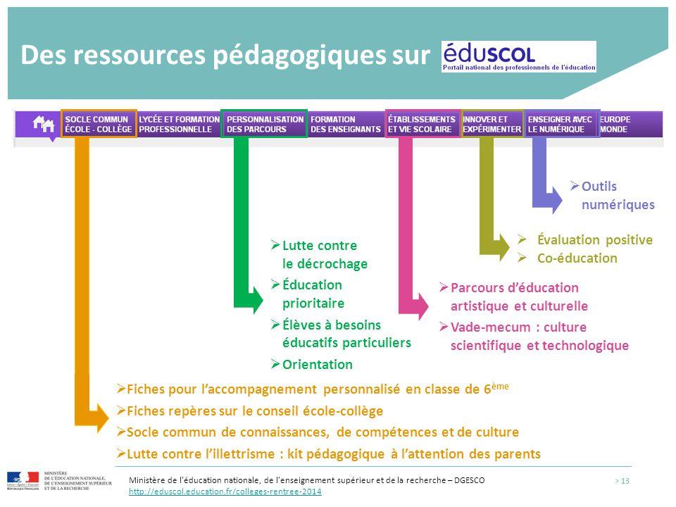 Des ressources pédagogiques sur