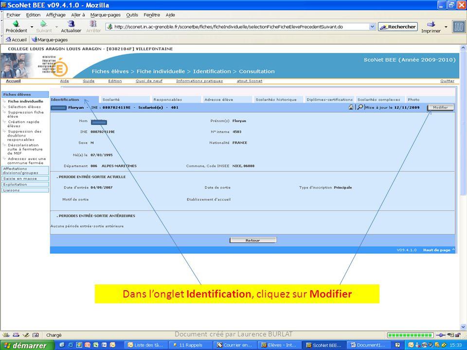 Dans l'onglet Identification, cliquez sur Modifier
