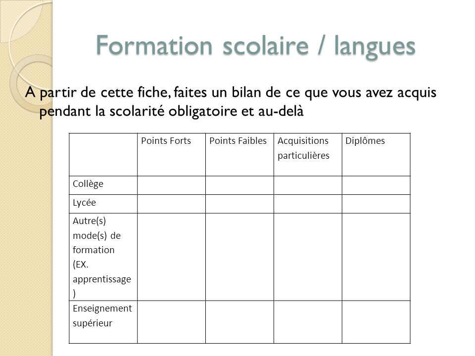 Formation scolaire / langues