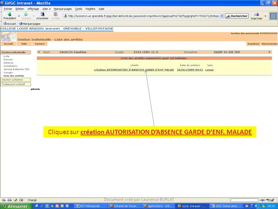 Cliquez sur création AUTORISATION D'ABSENCE GARDE D'ENF. MALADE