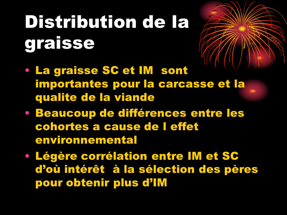 Distribution de la graisse