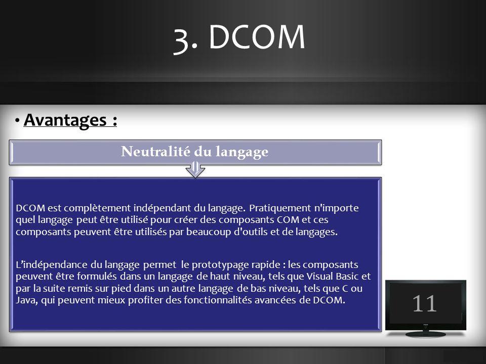 3. DCOM 11 Avantages : Neutralité du langage