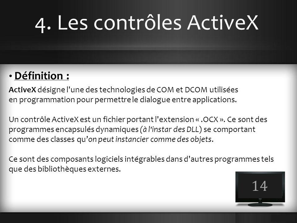 4. Les contrôles ActiveX 14 Définition :