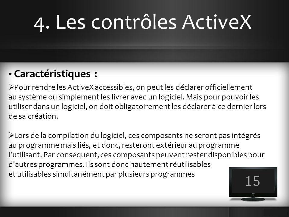 4. Les contrôles ActiveX 15 Caractéristiques :