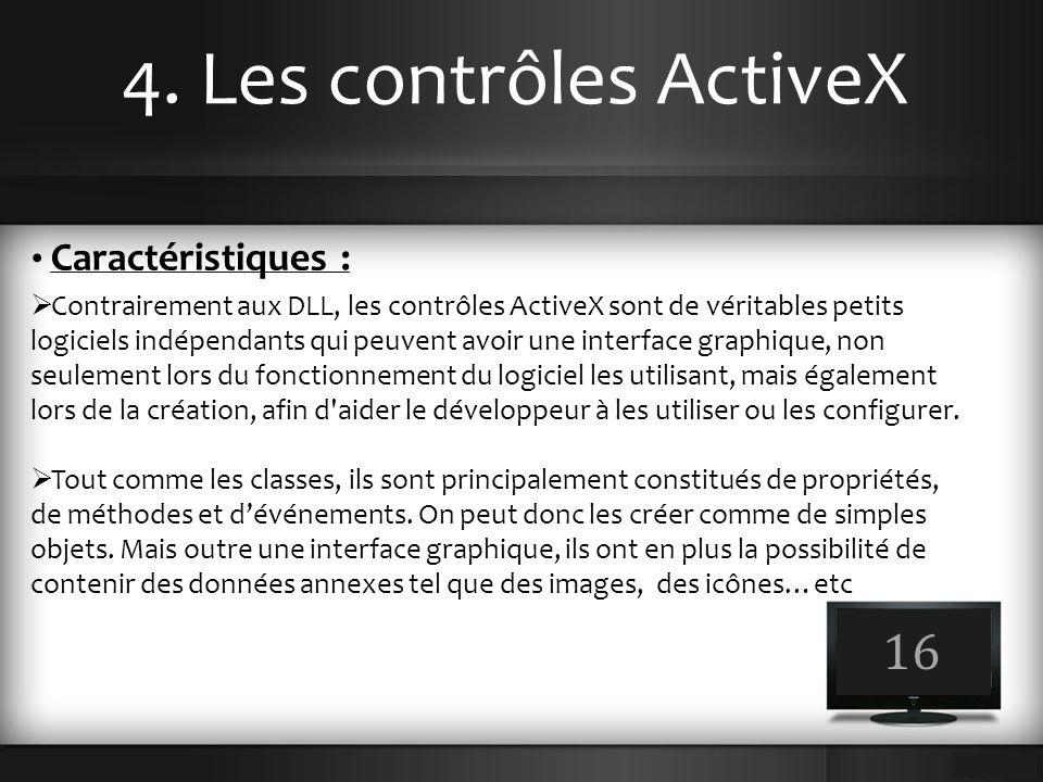 4. Les contrôles ActiveX 16 Caractéristiques :