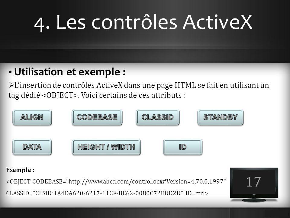 4. Les contrôles ActiveX 17 Utilisation et exemple :