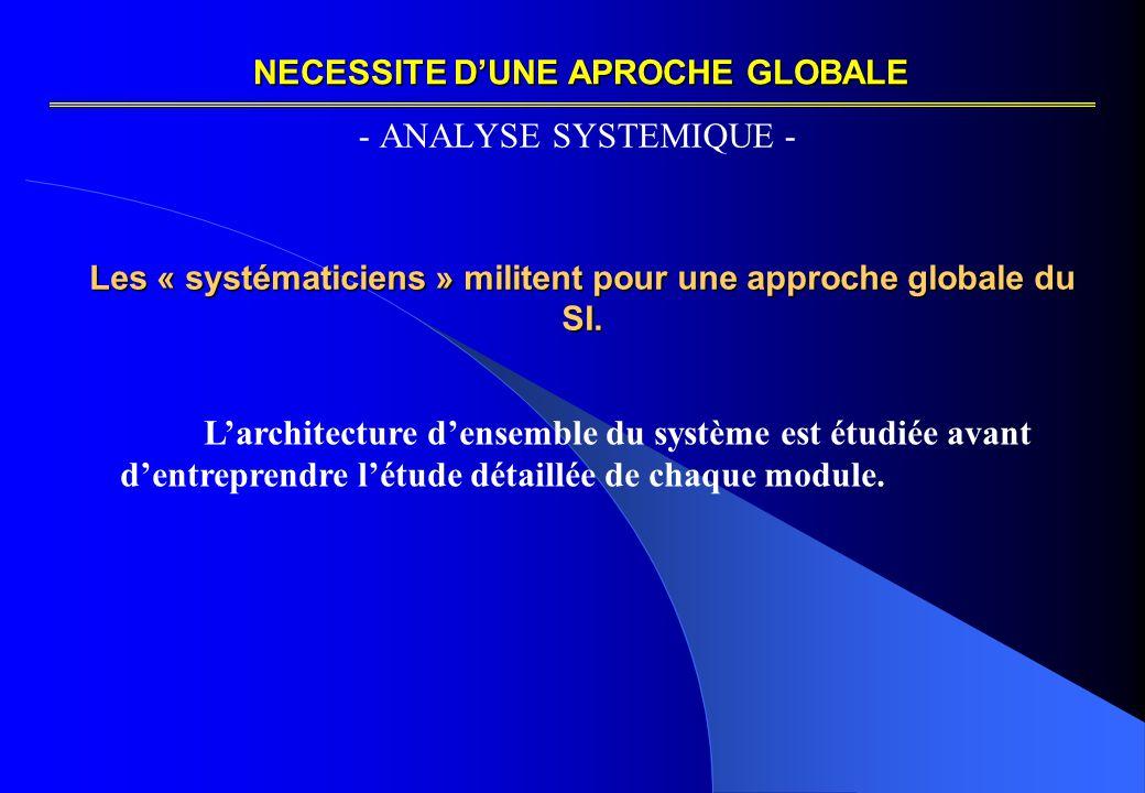 NECESSITE D'UNE APROCHE GLOBALE