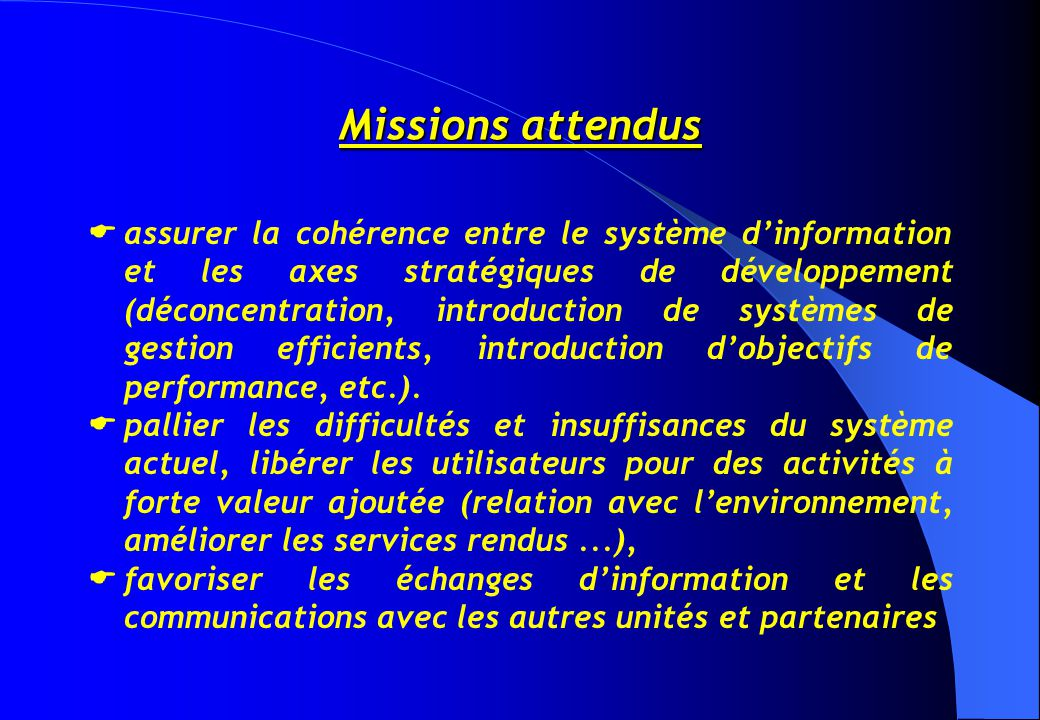 Missions attendus