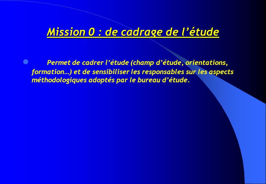 Mission 0 : de cadrage de l'étude