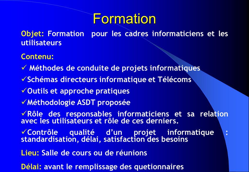 Formation Objet: Formation pour les cadres informaticiens et les utilisateurs. Contenu: Méthodes de conduite de projets informatiques.