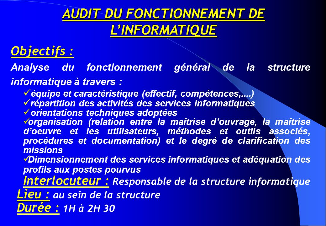 AUDIT DU FONCTIONNEMENT DE L'INFORMATIQUE