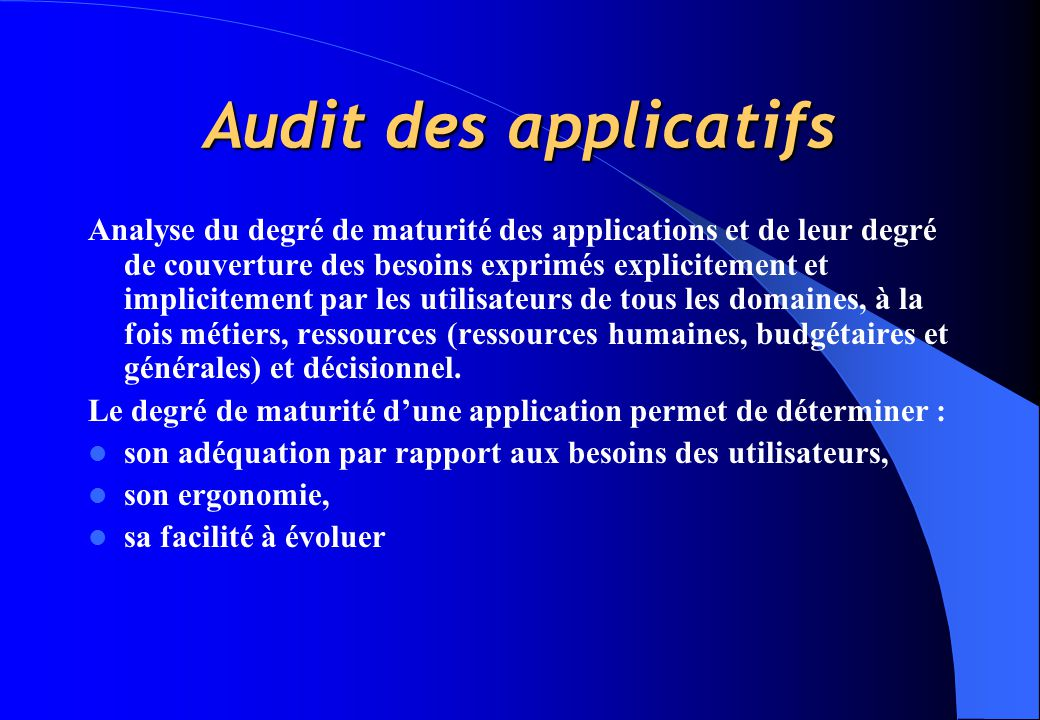 Audit des applicatifs