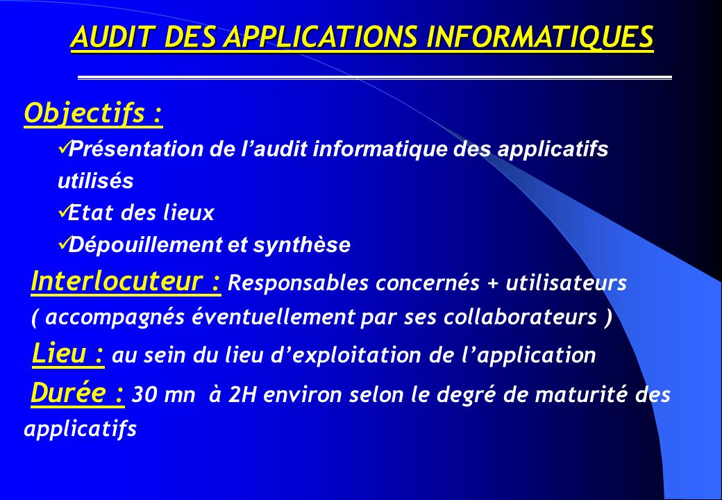 AUDIT DES APPLICATIONS INFORMATIQUES