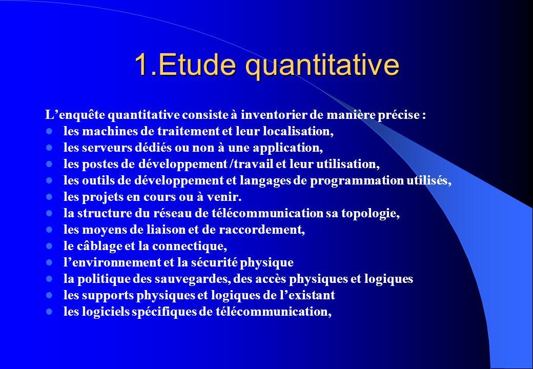 1.Etude quantitative L'enquête quantitative consiste à inventorier de manière précise : les machines de traitement et leur localisation,