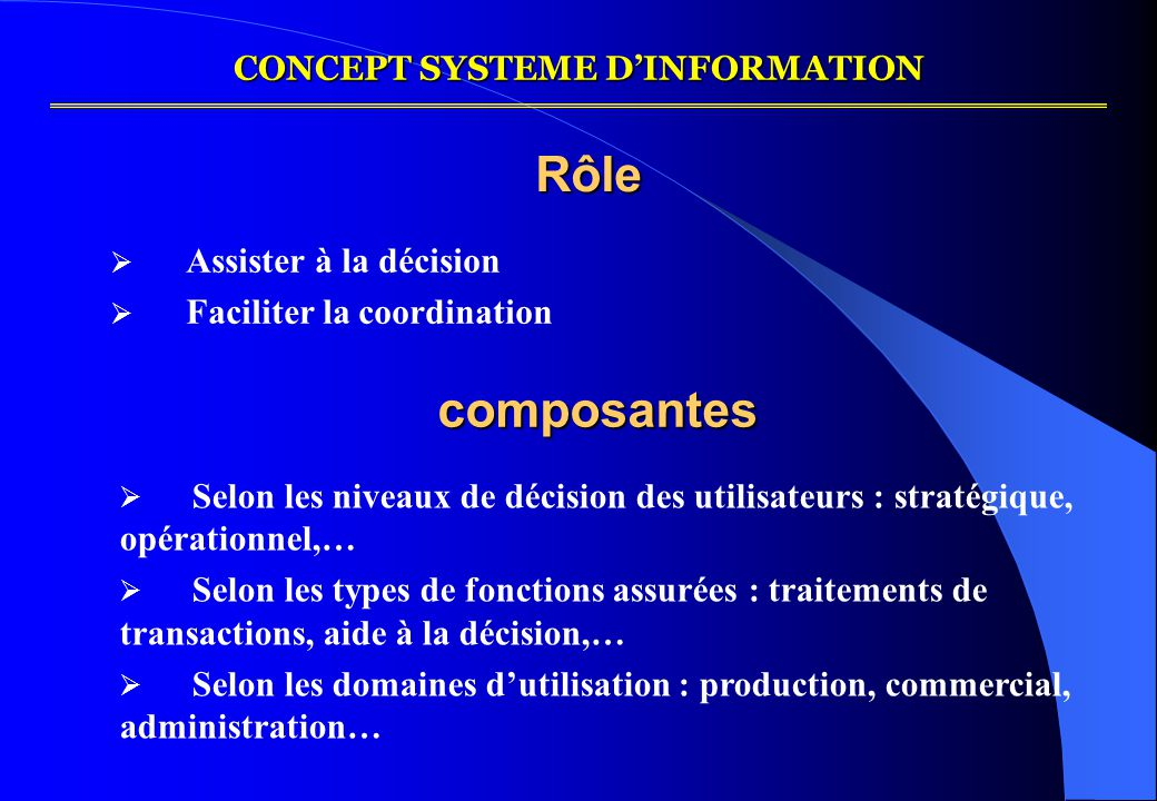 CONCEPT SYSTEME D'INFORMATION
