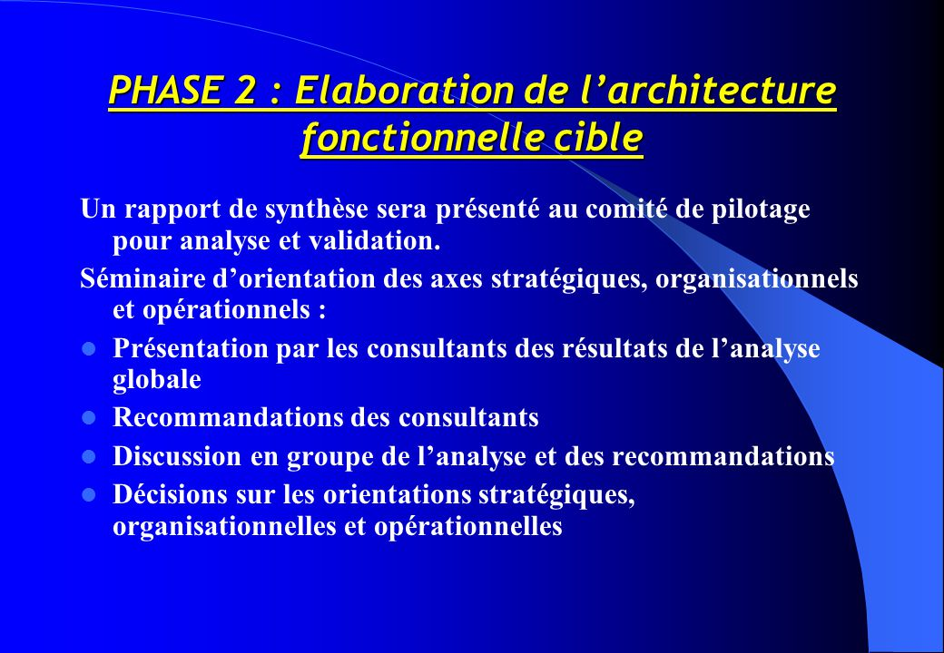 PHASE 2 : Elaboration de l'architecture fonctionnelle cible