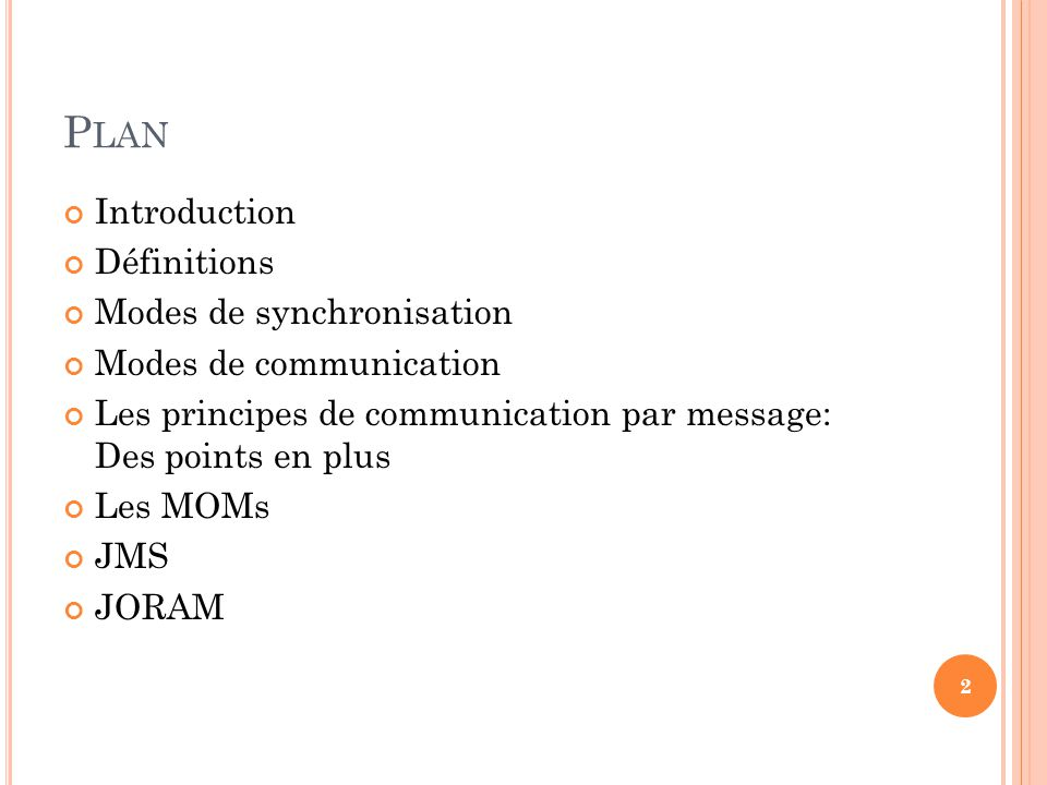 Plan Introduction Définitions Modes de synchronisation