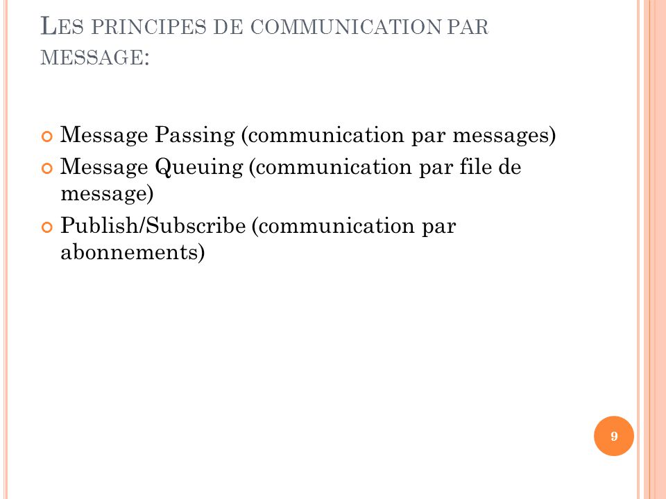 Les principes de communication par message: