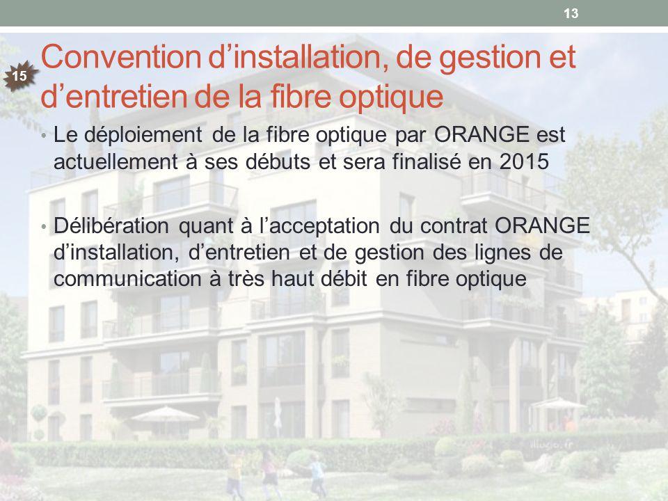 Convention d'installation, de gestion et d'entretien de la fibre optique