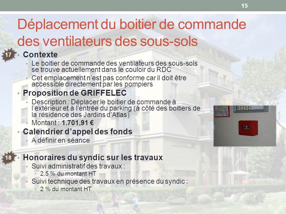 Déplacement du boitier de commande des ventilateurs des sous-sols