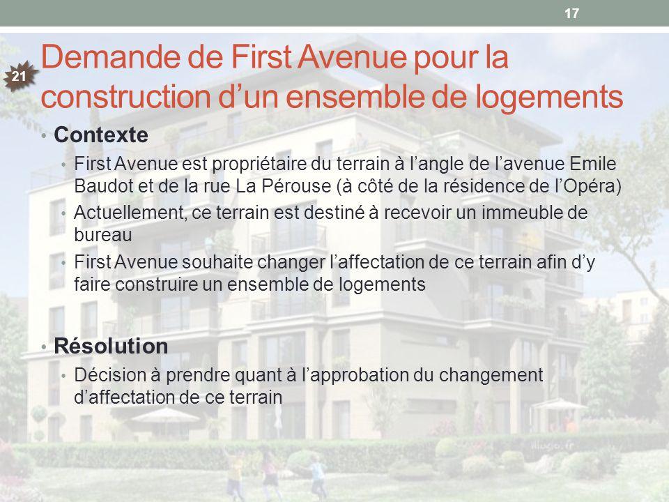 Demande de First Avenue pour la construction d'un ensemble de logements