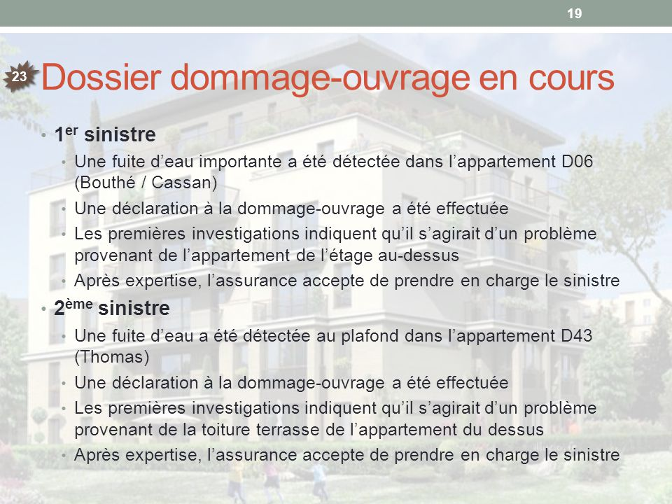 Dossier dommage-ouvrage en cours
