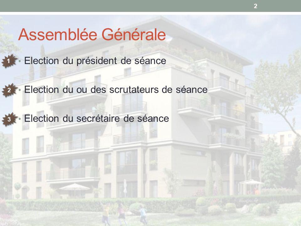 Assemblée Générale Election du président de séance