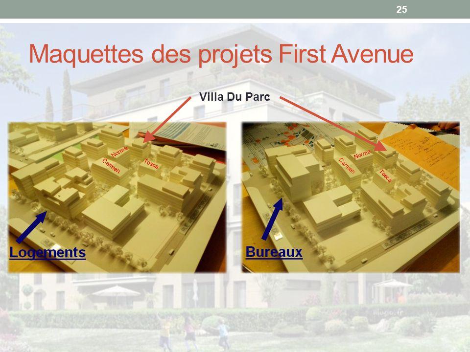 Maquettes des projets First Avenue
