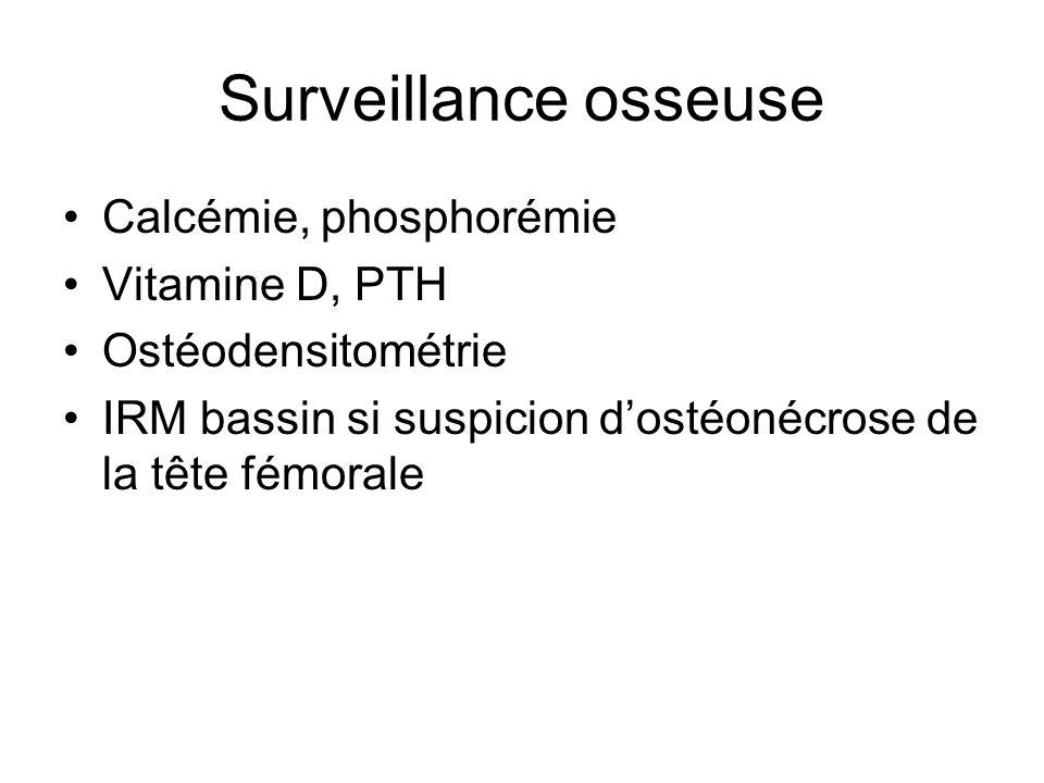 Surveillance osseuse Calcémie, phosphorémie Vitamine D, PTH