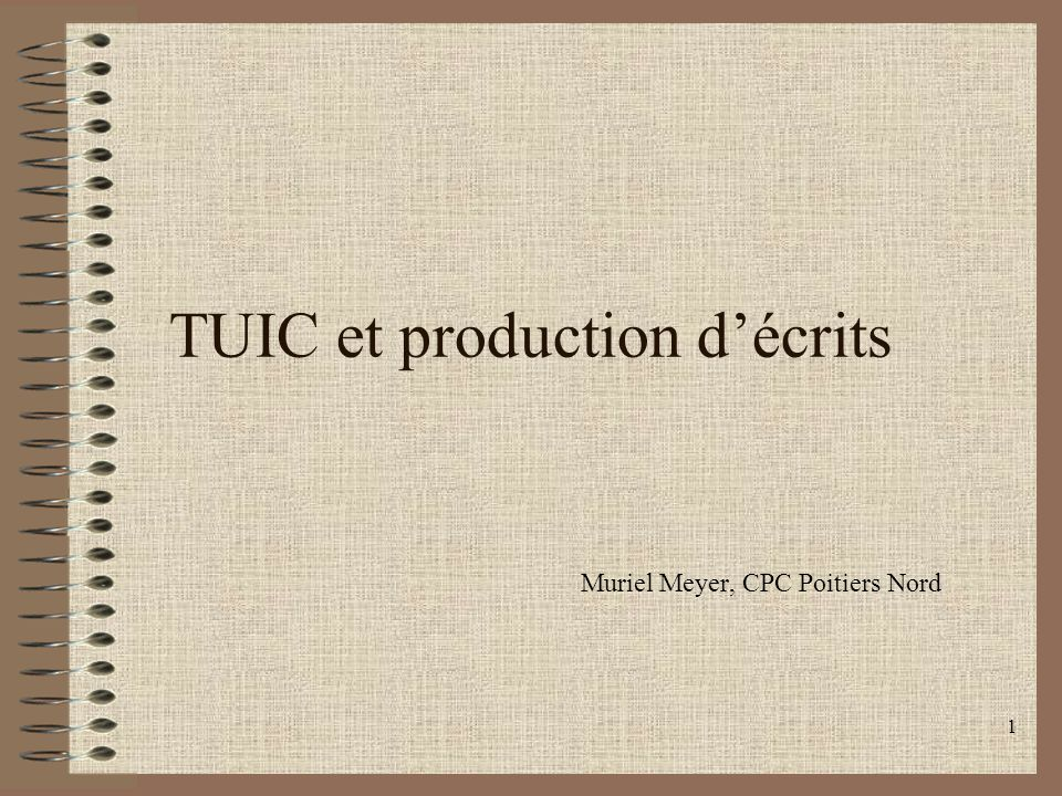 TUIC et production d'écrits