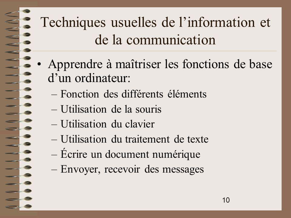 Techniques usuelles de l'information et de la communication