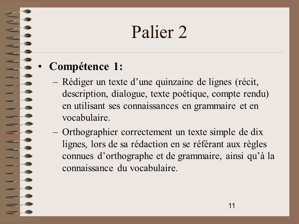 Palier 2 Compétence 1: