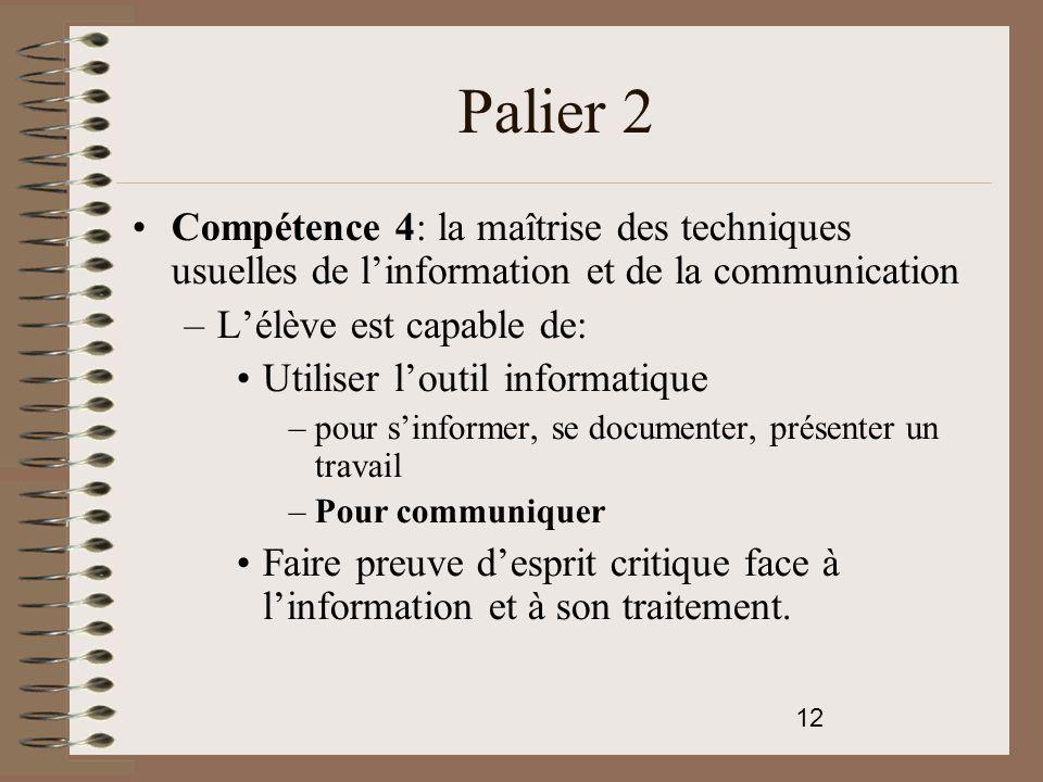 Palier 2 Compétence 4: la maîtrise des techniques usuelles de l'information et de la communication.