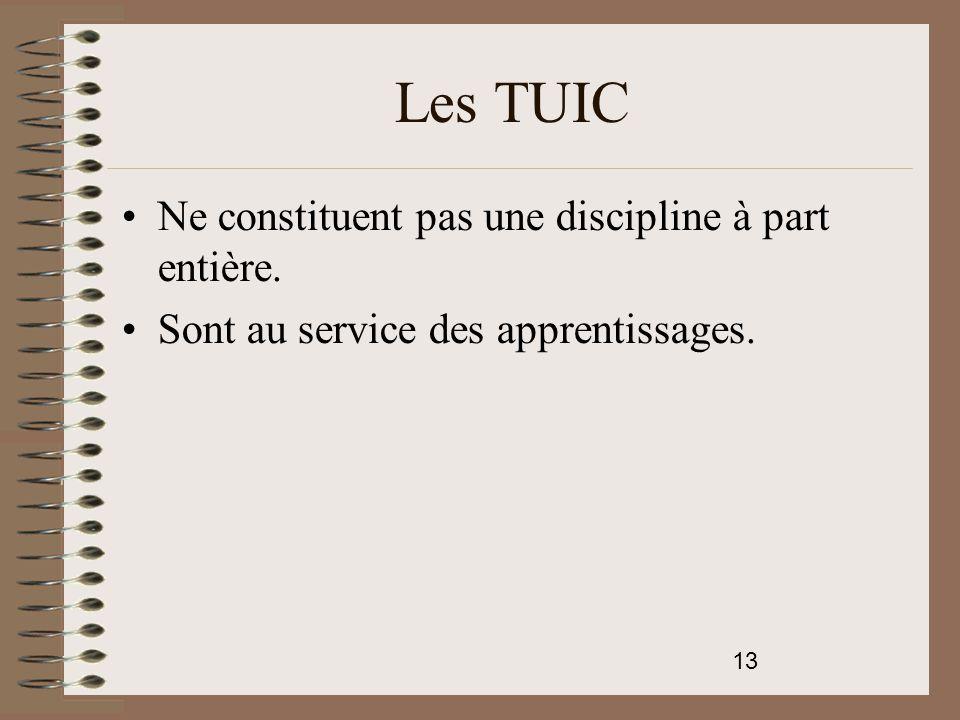 Les TUIC Ne constituent pas une discipline à part entière.