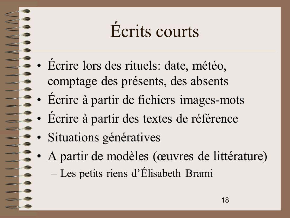 Écrits courts Écrire lors des rituels: date, météo, comptage des présents, des absents. Écrire à partir de fichiers images-mots.