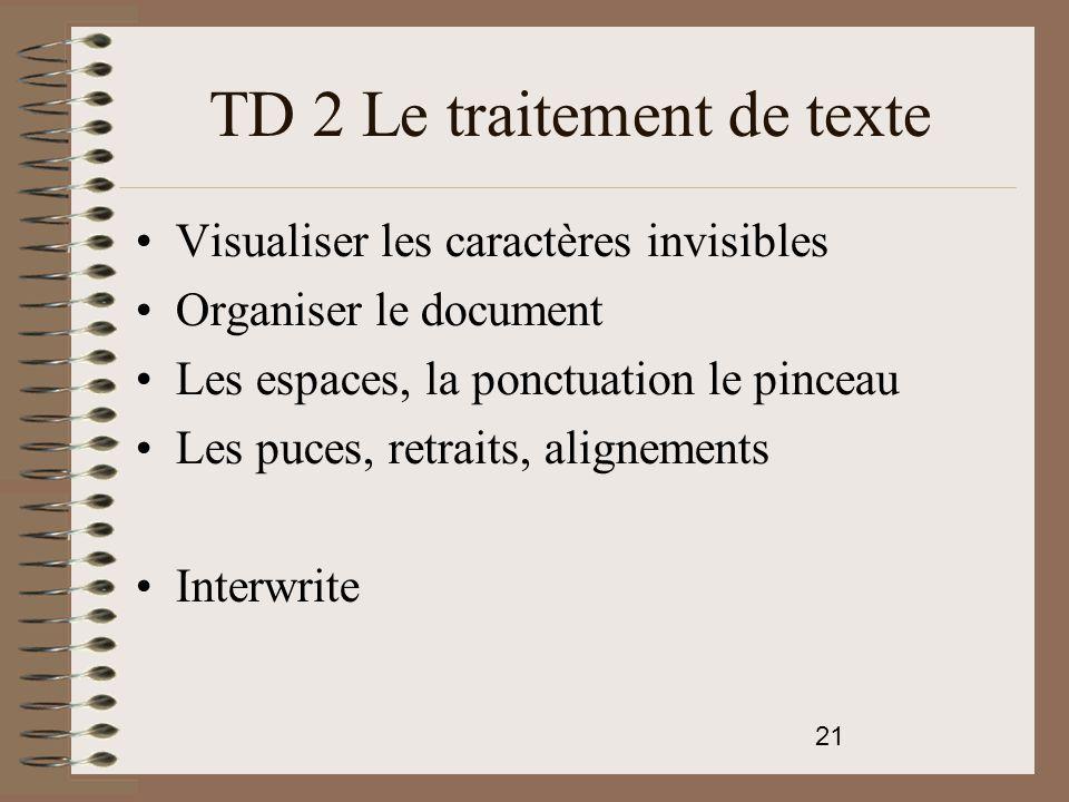 TD 2 Le traitement de texte