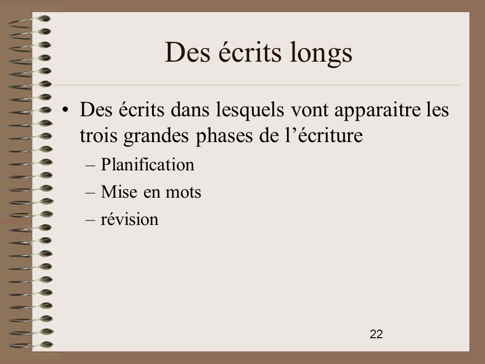 Des écrits longs Des écrits dans lesquels vont apparaitre les trois grandes phases de l'écriture. Planification.
